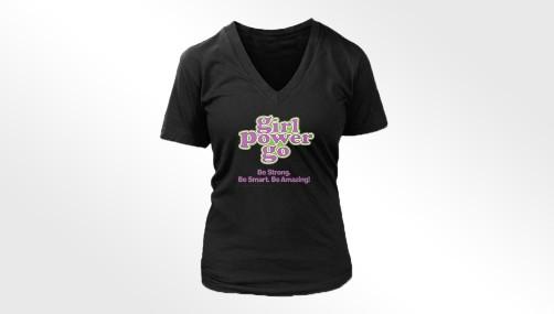Girl Power Go Ladies Bella Missy V-Neck T-shirt