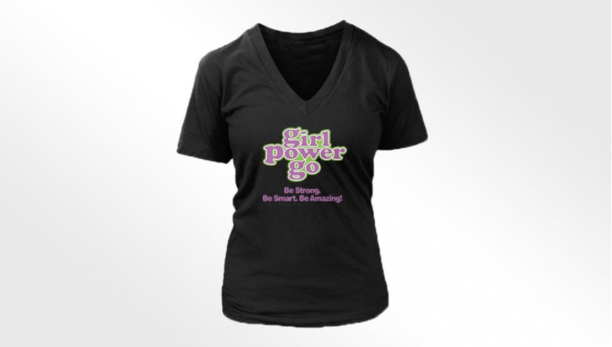 Girl Power Go Ladies Bella Missy V-Neck T-shirt